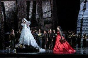 Jennifer Davis as Elsa von Brabant, Christine Goerke as Ortrud in Lohengrin, The Royal Opera © 2018 ROH. Photograph by Clive Barda