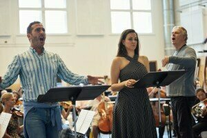 Vito Priante and Joyce El-Khoury in rehearsal with the orchestra