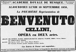 Poster for the first performance of Benvenuto Cellini