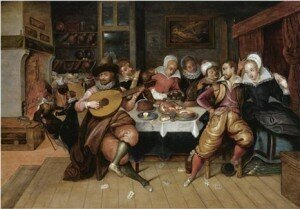 An Elegant Company Making Merry While Eating And Drinking Around A Table In An Interior (after) Louis De Caullery