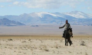 A Mongolian herder on the steppe of Hovd province. Photograph: Kate Molleson for the Guardian