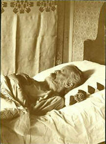 Brahms on his deathbed, April 3, 1897.