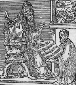 Woodcut of Palestrina presenting his first book of masses to Pope Julius III