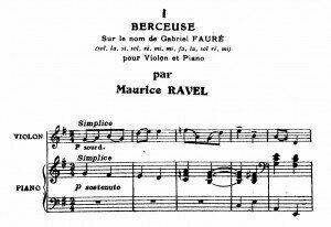 Ravel's score for the lullaby Berceuse sur le nom de Gabriel Fauré