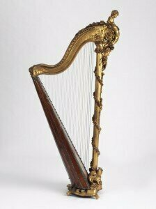 Pedal harp from Victoria and Albert Collection V&A by Georges Cousineau born 1733.