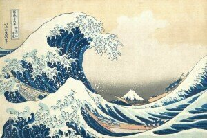 "Ukiyo-e Japanese woodblock prints ""The Great Wave off Kanagawa"""