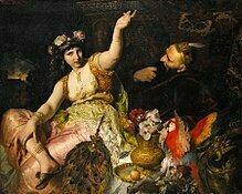 220px-Ferdinand_Keller_-_Scheherazade_und_Sultan_Schariar_(1880)