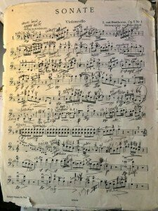 My well-worn music to Beethoven's Cello Sonata Op 5 No. 1