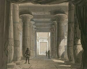 Set design by Philippe Chaperon for Act 1 of Aida, year 1871