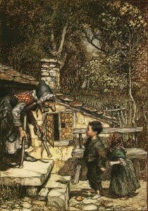 Arthur Rackham: Hansel and Gretel meet the Witch