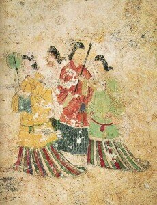 Women's clothing in a wall mural from the west wall of the Takamatsuzuka Tomb, late 7th century, Asuka period