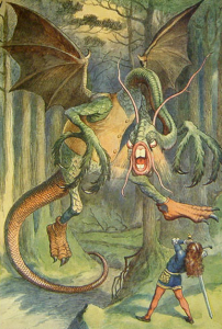 The Jabberwock, with eyes of flame, | Came whiffling through the tulgey wood… (Tenniel)