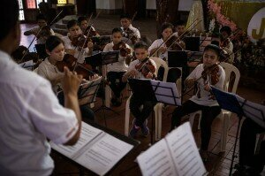 Students played in a local orchestra concert last month. Baroque music is deeply embedded in the indigenous culture.© Lena Mucha for The New York Times
