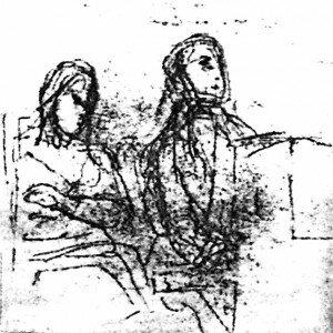 Delacroix: Preliminary sketch for the double portrait (Louvre, Paris)