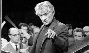 Leonard Bernstein conducting rehearsals at London's Royal Albert Hall, for the Igor Stravinsky Memorial Concert. © PA/EMPICS