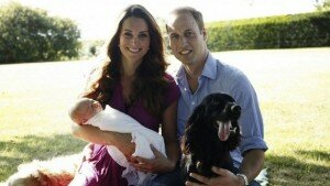 Prince William and Kate Middleton with their baby Louis Arthur Charles