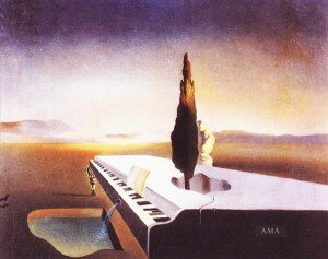 """Necrophiliac Fountain Flowing from a Grand Piano"" by Salvador Dali"