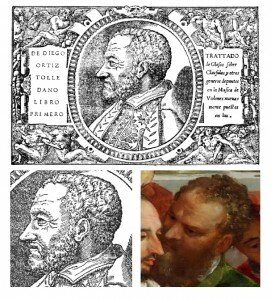 A profile of Ortiz from his music treatise Trattado de Glosas (1553) and his image in the Veronese painting
