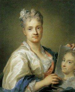 Carriera: Self-portrait Holding a Portrait of her Sister (1715) (Galleria degli Uffizi, Florence)