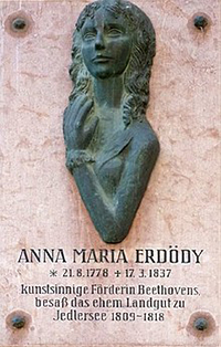 A plaque affixed to the wall of a house in Jedlesee, Vienna, commemorating the residence there of Anna Maria Erdödy, Beethoven's patroness and friend