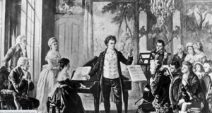 Beethoven with the Rasowmowsky Quartet, drawn by the artist Borckmann.