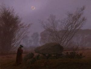 Walk at Dusk (Man Contemplating a Megalith) by Caspar David Friedrich