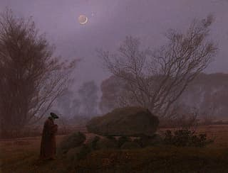 Walk at Dusk (Man Contemplating a Megalith) by Caspar David Friedrich
