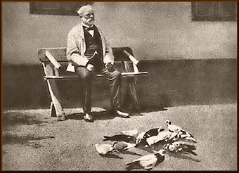 Antonín Dvořák feeding his pigeons