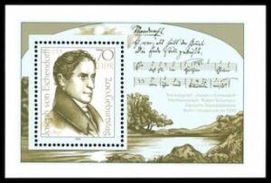Stamps of Germany: Joseph von Eichendorff with Schumann's music autograph