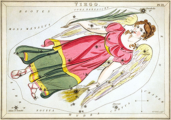 """Virgo"", plate 21 in Urania's Mirror, a set of celestial cards accompanied by A familiar treatise on astronomy ... by Jehoshaphat Aspin"