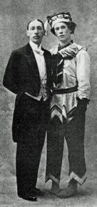 Igor Stravinsky with Vaslav Nijinsky in costume for Petrushka