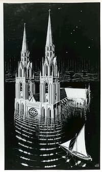 La Cathedrale engloutie – Escher (Brigham Young University Museum of Art)