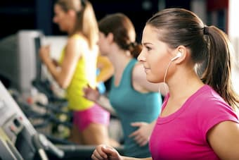 Listening to music while doing exercises