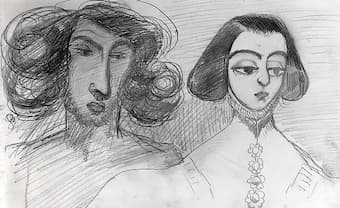 Alfred de Musset's self portrait with George Sand