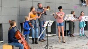 Musicians performing on street in Germany
