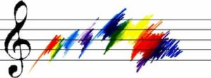 Rainbow colours on a music staff