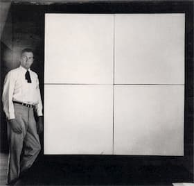 Robert Rauschenberg with four-panel White Painting