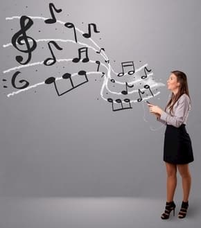 Woman voice with musical notes