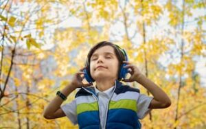 A boy listening to music