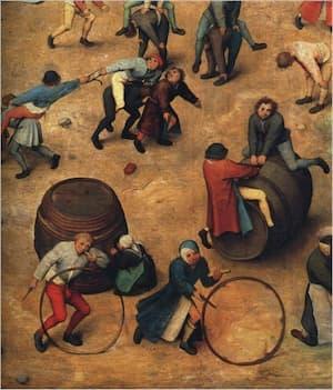 Pieter Bruegel, Children's Games (detail of hoop-rolling)