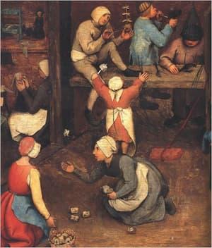 Pieter Bruegel, Children's Games (detail of knuckbones and bubble blowing)