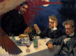 Akseli Gallen-Kallela, Symposium, 1894. Sibelius and other painters and writers met regularly for nights of drinking and discussion, the group was known as the Symposium.