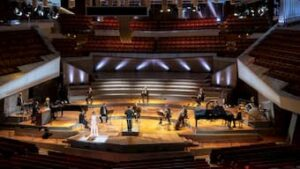 The Berlin Philharmonic performs its annual European Concert May 1 in the empty Philharmonie Berlin