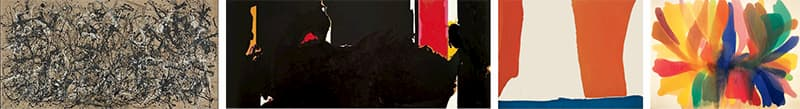 (From left to right) Jackson Pollock: Autumn Rhythm | Robert Motherwell: Face of the Night | Helen Frankenthaler: Summer Banner | Morris Louis: Point of Tranquility
