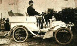 "Giacomo Puccini behind the wheel of a de Dion-Bouton ""Populaire"" tonneau, c. 1902"