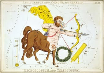 """Sagittarius and Corona Australis. Microscopium, and Telescopium."", plate 24 in Urania's Mirror, a set of celestial cards accompanied by A familiar treatise on astronomy ... by Jehoshaphat Aspin."