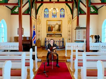 Sæunn's recent concert performing Bach's cello suites at different churches in the Westfjords of Iceland