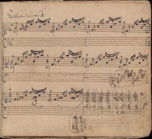 Manuscript of J.S. Bach's Prelude in C