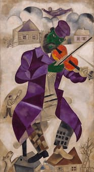 Marc Chagall's Green Violinist represents a fiddler in his misty village