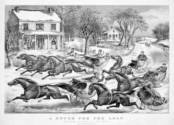 Currier and Ives: A Brush for the Lead (1867)